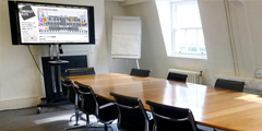 Photograph of training room at Somerset House with Interactive Screen
