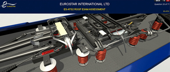 Screen shot of Eurostar interactive training solution - 3D model of power car components