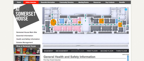 Online Interactive 3d floorplan of Somerset House used for health and safety induction and training
