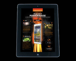 Screen shot of LG's interactive smartphone ipad advert campaign, 'Pocket Powerhouse'